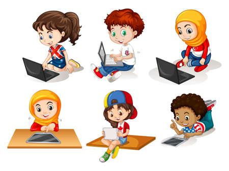 usando computadora: Los niños que usan el ordenador y la tableta ilustración Vectores