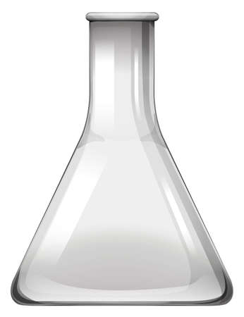 Empty glass beaker on white illustration