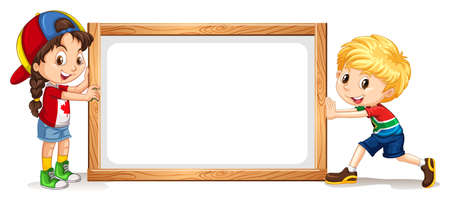 wooden frame: Girl and boy by the wooden frame illustration