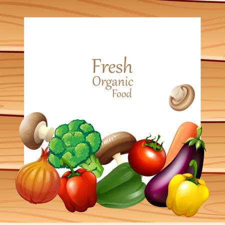 organic peppers sign: Many vegetables and sign illustration