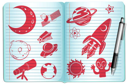 science symbols: Notebook full with science symbols illustration Illustration