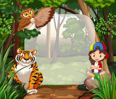 Little girl and wild animals in jungle illustration