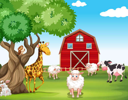 Farm animals and wild animals illustration