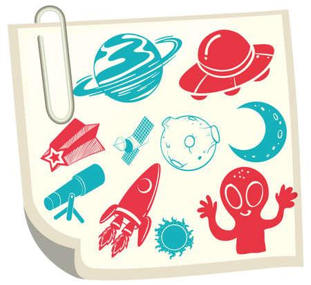 science symbols: Science symbols on white paper illustration