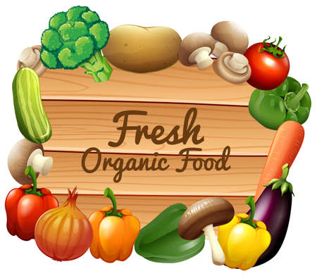 raw material: Many vegetables and sign illustration