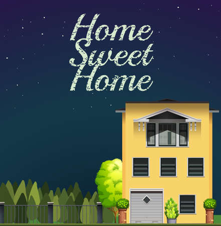 modern house exterior: Home sweet home at night illustration Illustration