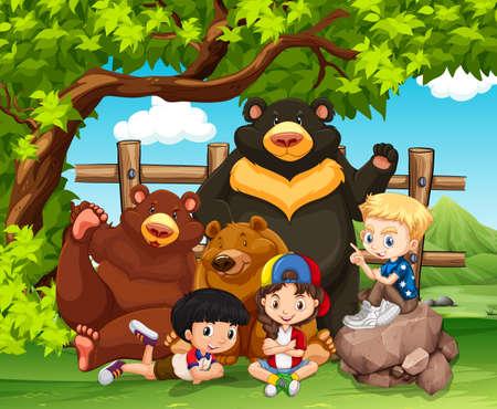 safari animal: Children and wild bears together illustration