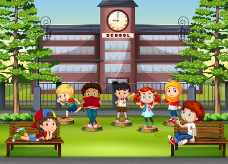 school illustration: Children at the park in front of school illustration Illustration