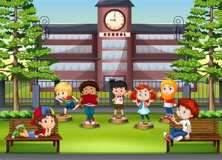 colegio: Niños en el parque frente a la ilustración de la escuela