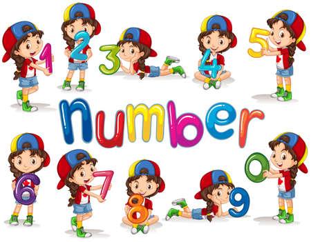 niños sentados: Chica y los números de cero a nueve ilustración