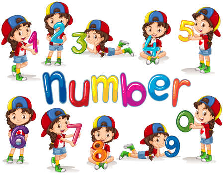 Girl and numbers zero to nine illustration Çizim