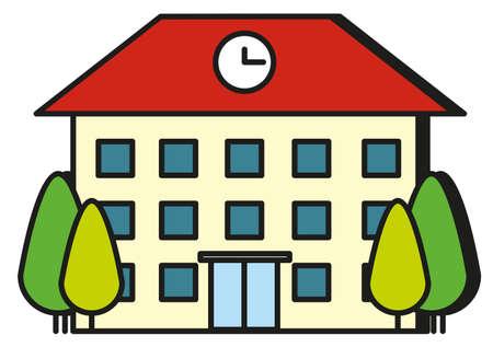 escuela caricatura: Gran edificio con la ilustración de techo rojo Vectores