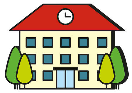 school illustration: Large building with red roof illustration