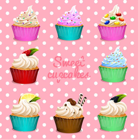 cupcake illustration: Different design of cupcakes illustration