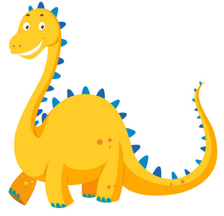 neck: Cute yellow dinosaur with long neck illustration Illustration