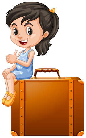 joven sentado: Little girl sitting on a suitcase illustration