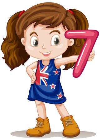 cute little girl: Little girl holding number seven illustration Illustration