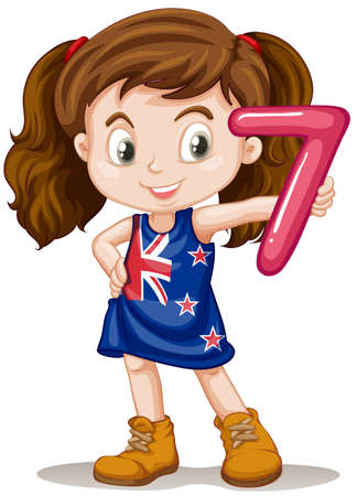 numbers clipart: Little girl holding number seven illustration Illustration