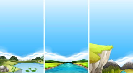 cliffs: Three different scenes of water illustration Illustration