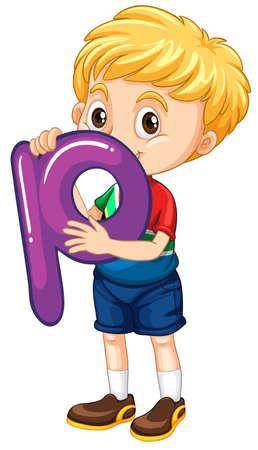 p illustration: Little boy holding letter P illustration
