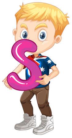 children s art: Little boy holding letter S illustration Illustration