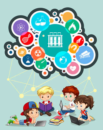 child studying: Children studying and science symbols illustration