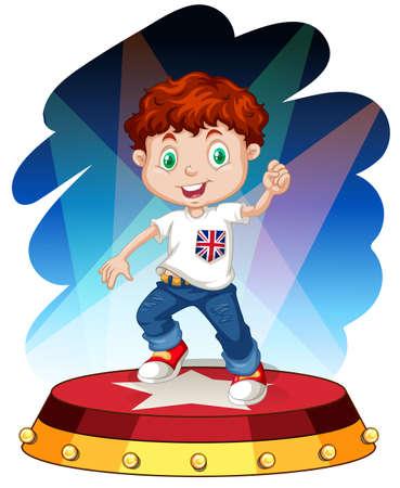niños actuando: Pequeño baile del muchacho en el escenario ilustración Vectores