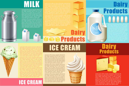 bakery products: Infographic with dairy products and text illustration Illustration