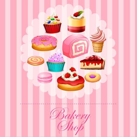 Diversi tipi di dolci in illustrazione rosa Archivio Fotografico - 46090480