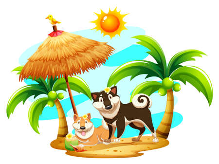 hot dog: Happy dogs on the beach illustration