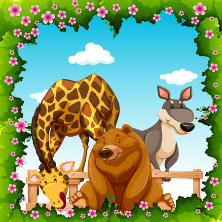 endangered: Wild animals in flower frame illustration