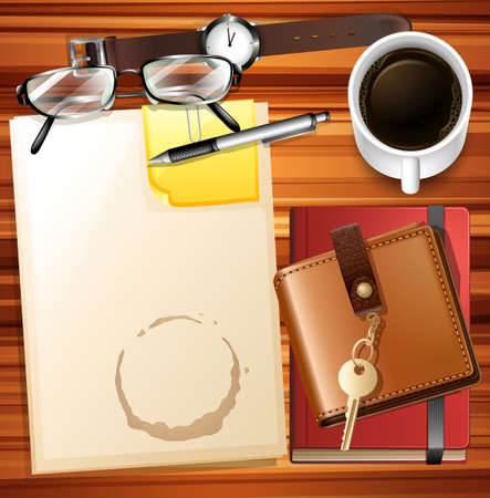 empty wallet: Table full of paper and other stationaries illustration