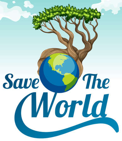 illustrated globe: Save the world poster with earth and tree illustration