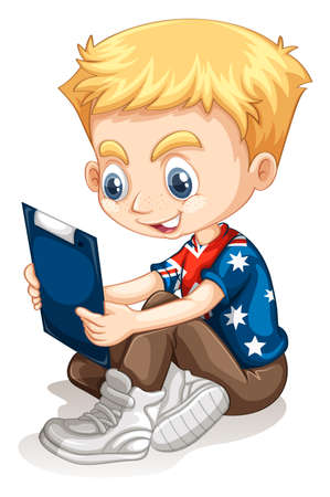 child sitting: Little boy reading from the board illustration