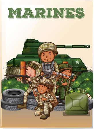 fully: Marines fully armed and tank illustration Illustration