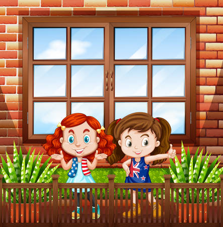 outside the house: Little girls standing outside the house illustration