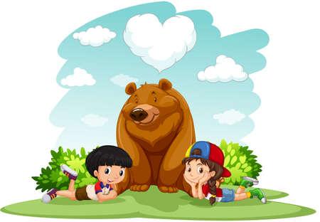 cute children: Children sitting with bear  illustration