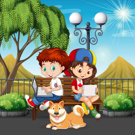 little boys: Boy and girl using computer in the park illustration