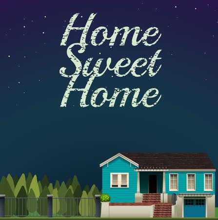 night art: Home sweet home at night time illustration Illustration