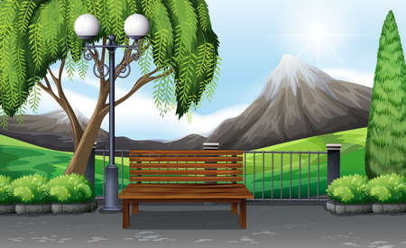 street lamp: Scene of public park with no people illustration