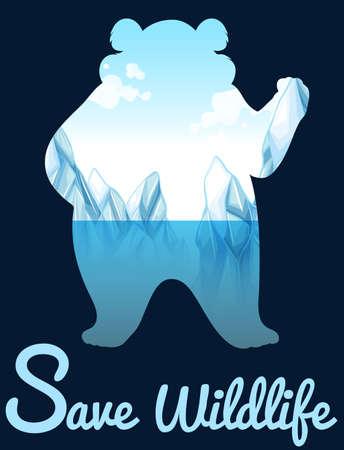 Sparen het wild ontwerp met ijsbeer illustratie