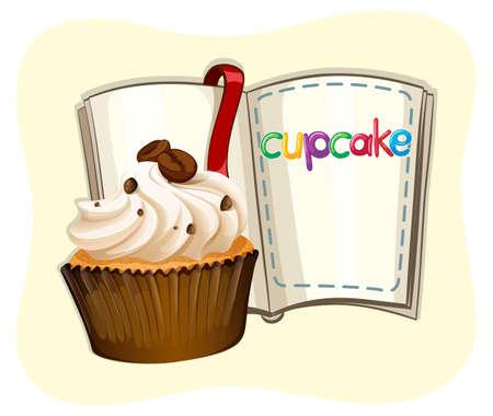 cupcake illustration: Coffee cupcake and book illustration
