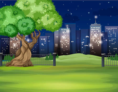 city buildings: City scene at night time illustration