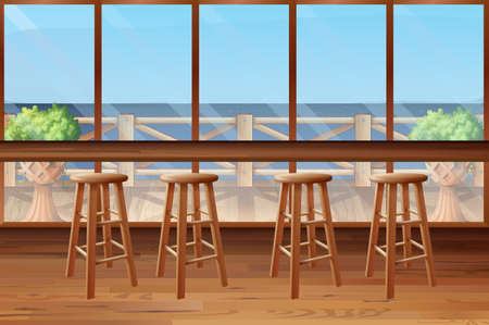 stools: Inside of restaurant with stools and bar illustration Illustration