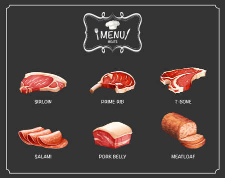 cooked meat: Different kind of meat on menu illustration