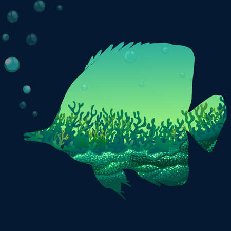 wildlife: Save wildlife desing with fish illustration