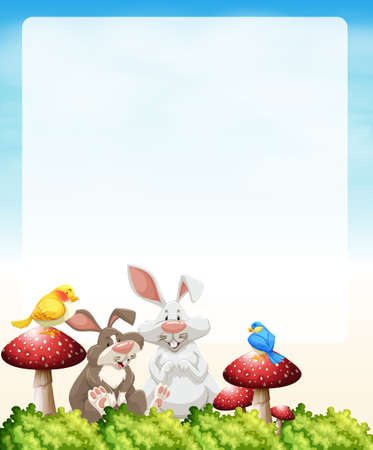 poster designs: Border design with rabbits and mushrooms illustration