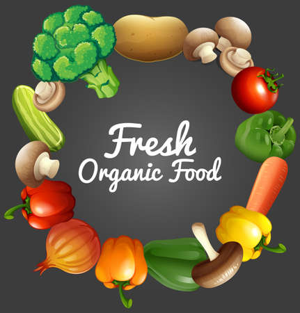 organic peppers sign: Poster design with organic vegetables illustration