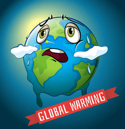 Global warming with earth melting illustration