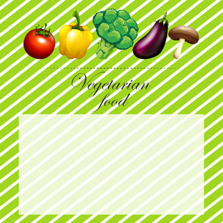 organic peppers sign: Border design with fresh vegetables illustration